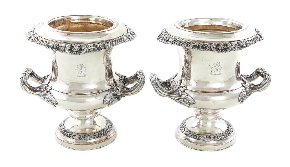 Pair Georgian Old Sheffield plate wine coolers (2pcs)