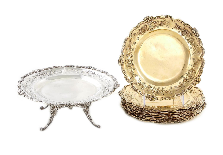 French silver dessert service, Emile Delaire (11pcs)