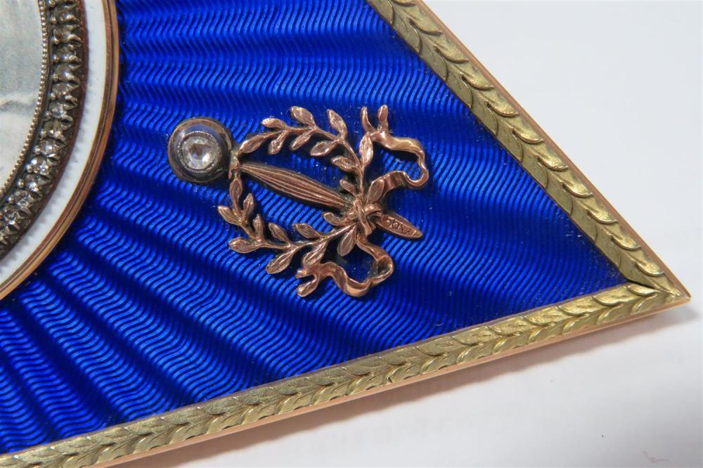 Russian diamond-accented guilloche enamel frame