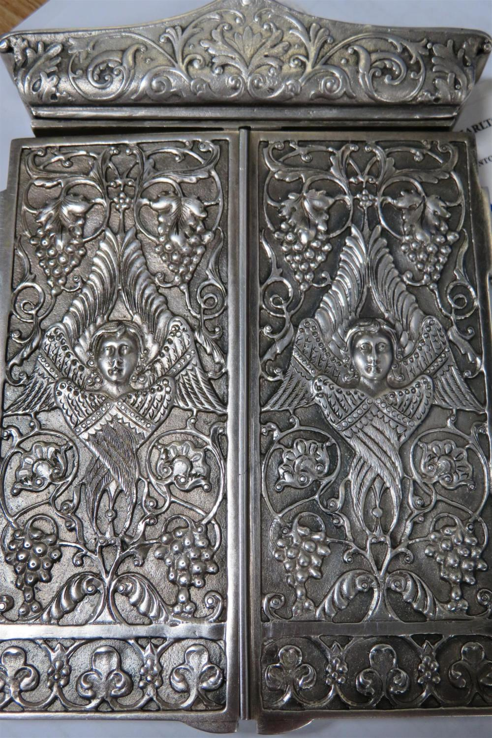Russian enamel and silver triptych-case icon
