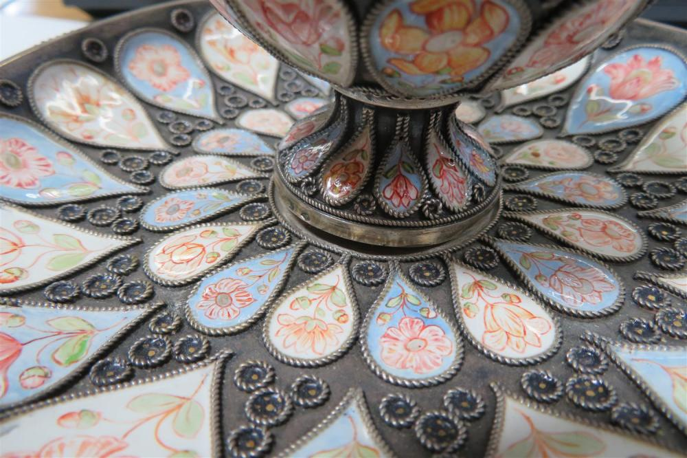 Austro-Hungarian enameled silver desk set (3pcs)