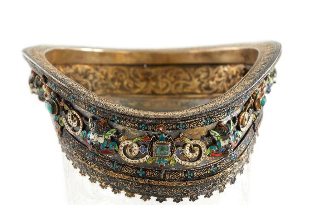 Fine Viennese silver-gilt, enamel, and gemstone-mounted rock crystal cornucopia