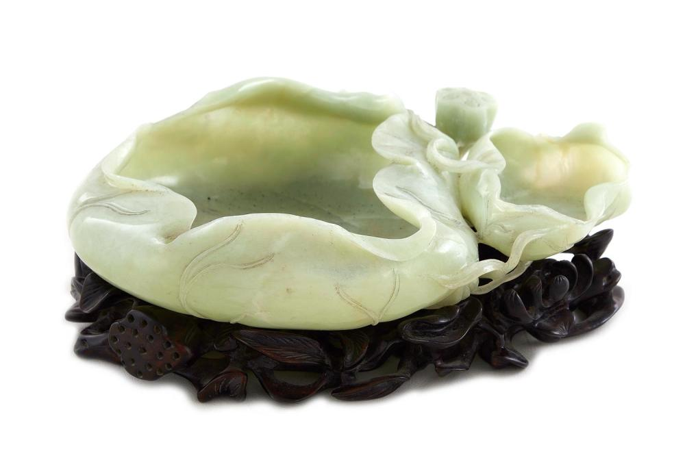 Chinese carved celadon jade double-bowl water coupe on stand