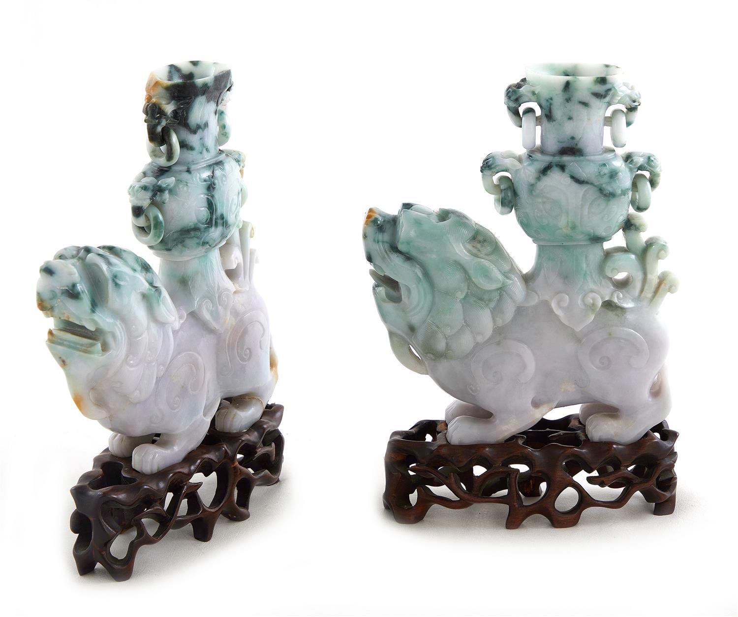 Pair Chinese carved jade lion-form vases on stands (2pcs)