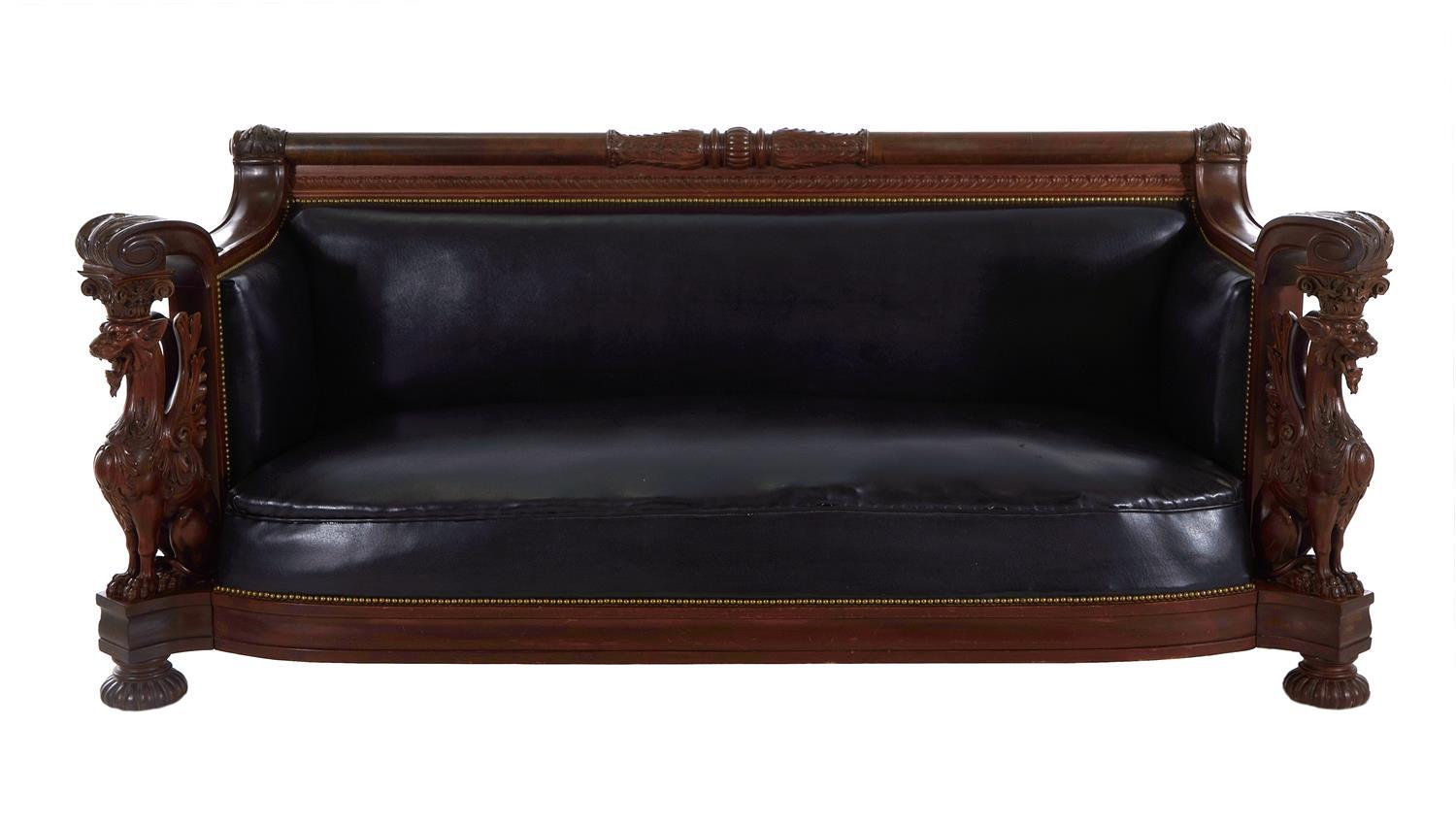 RJ Horner carved mahogany winged griffin sofa