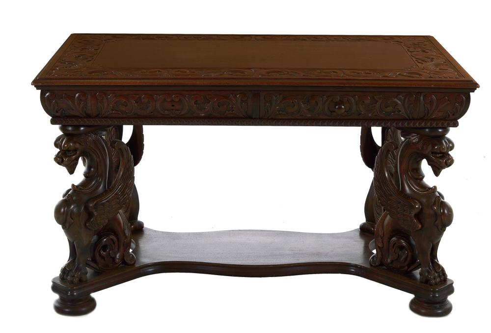 RJ Horner carved mahogany winged griffin library table