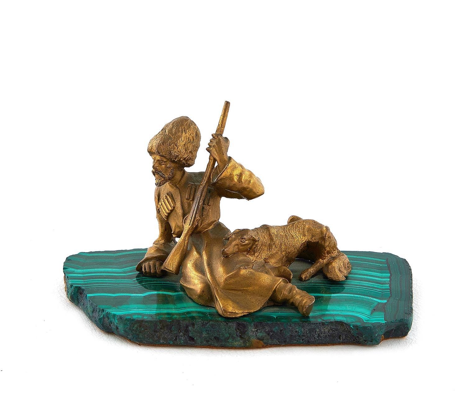 Russian gilt-bronze and malachite sculpture