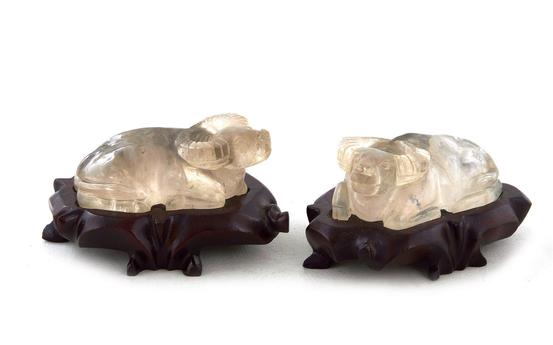 Pair Chinese carved rock crystal water buffalo (2pcs)