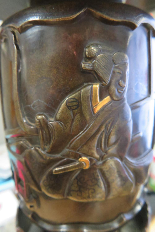 Japanese bronze ikebana vase