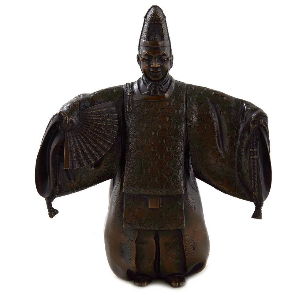 Japanese bronze kabuki actor in full costume, signed