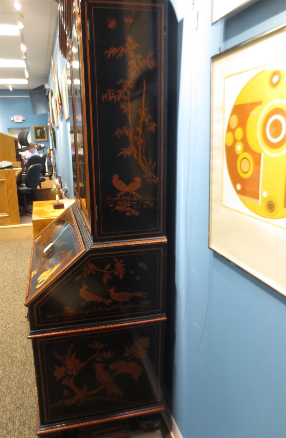 Georgian style chinoiserie-decorated secretary bookcase, Maitland Smith