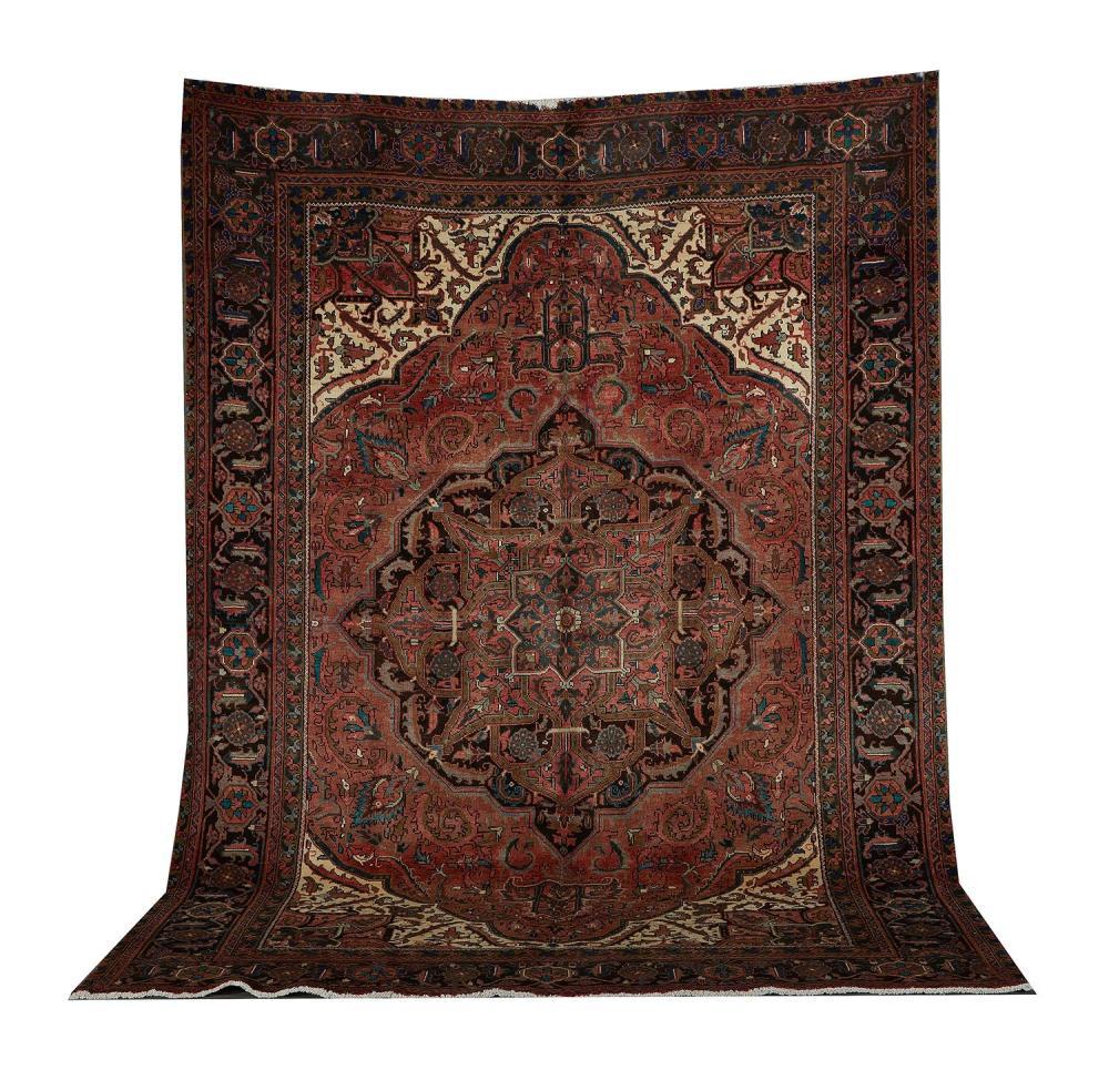 Semi-antique Persian Heriz carpet