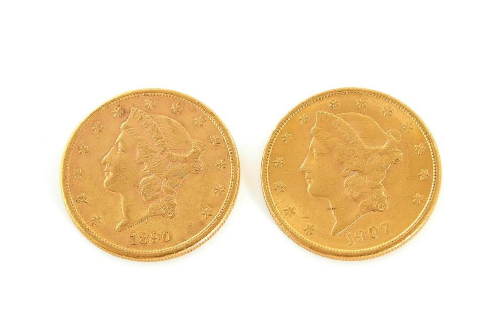 †Liberty Head US $20 gold pieces (2pcs)