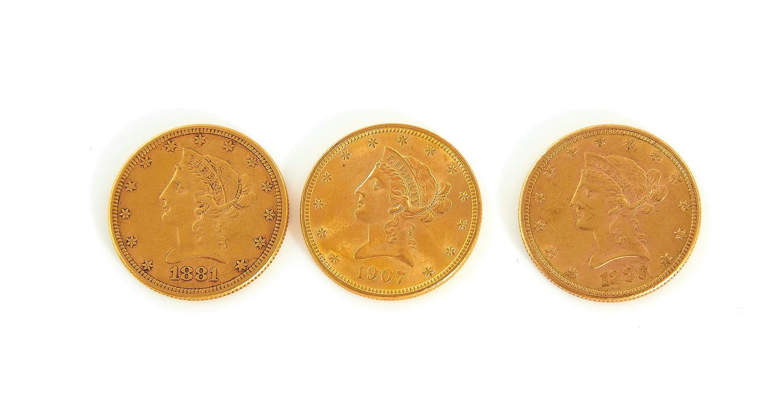 †Liberty Head US $10 gold pieces (3pcs)
