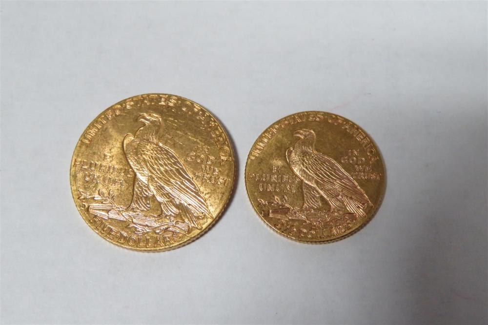 †Indian head $5 and $2 1/2 gold pieces (2pcs)