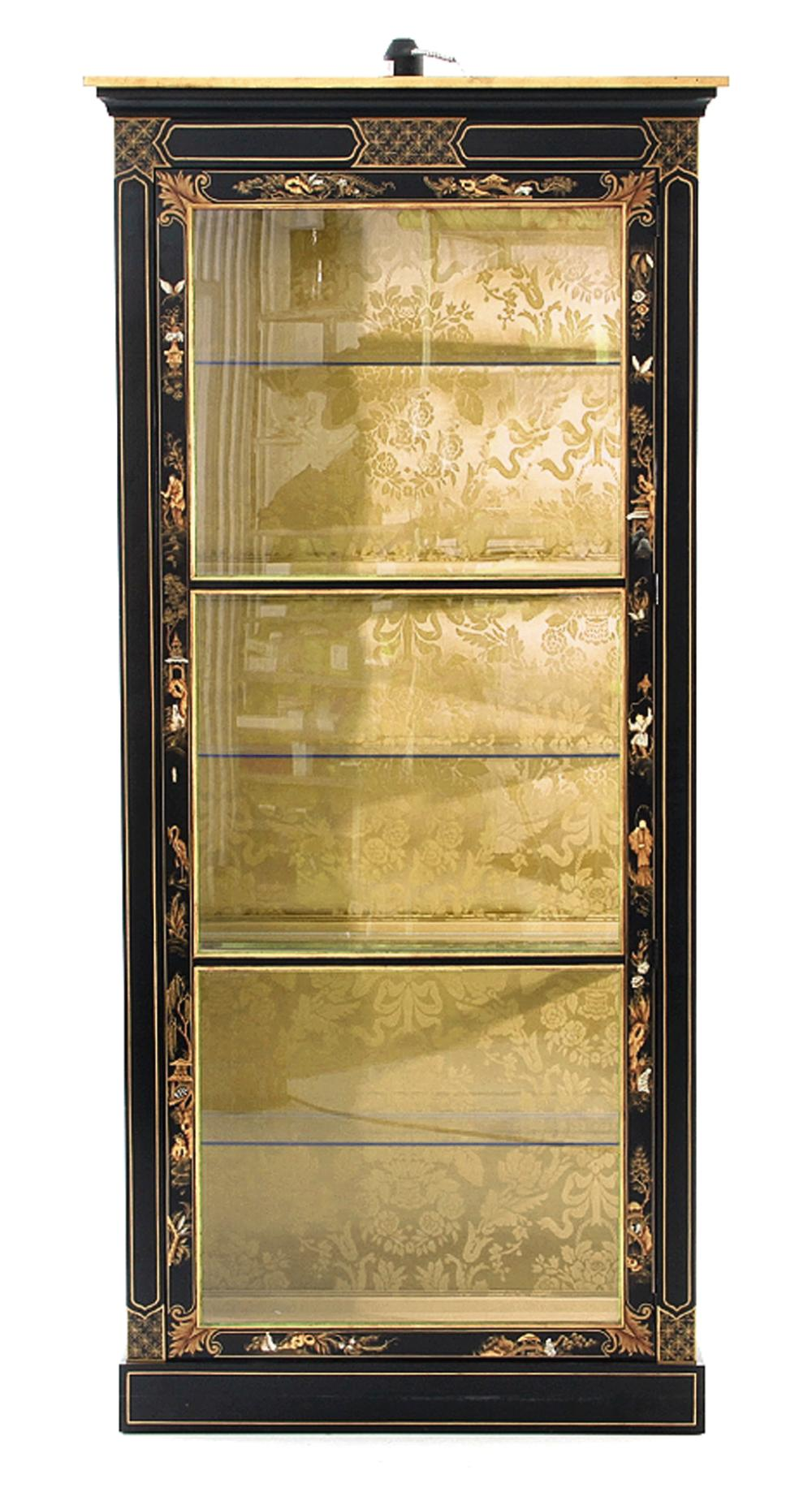 Chinoiserie-decorated curio cabinet, possibly Baker Furniture Co.