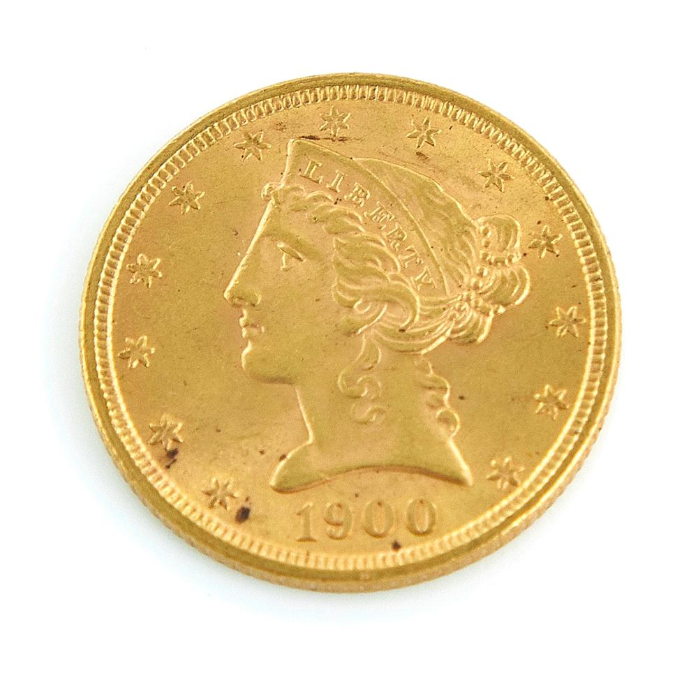 †Liberty Head US $5 gold piece