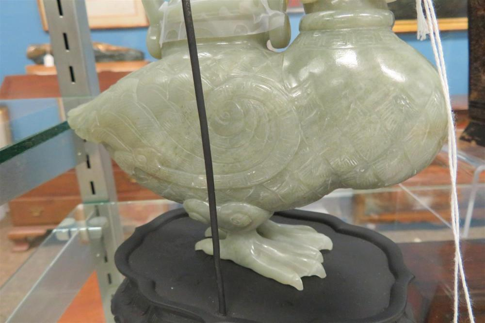 Chinese carved celadon jade duck-form vessel on stand