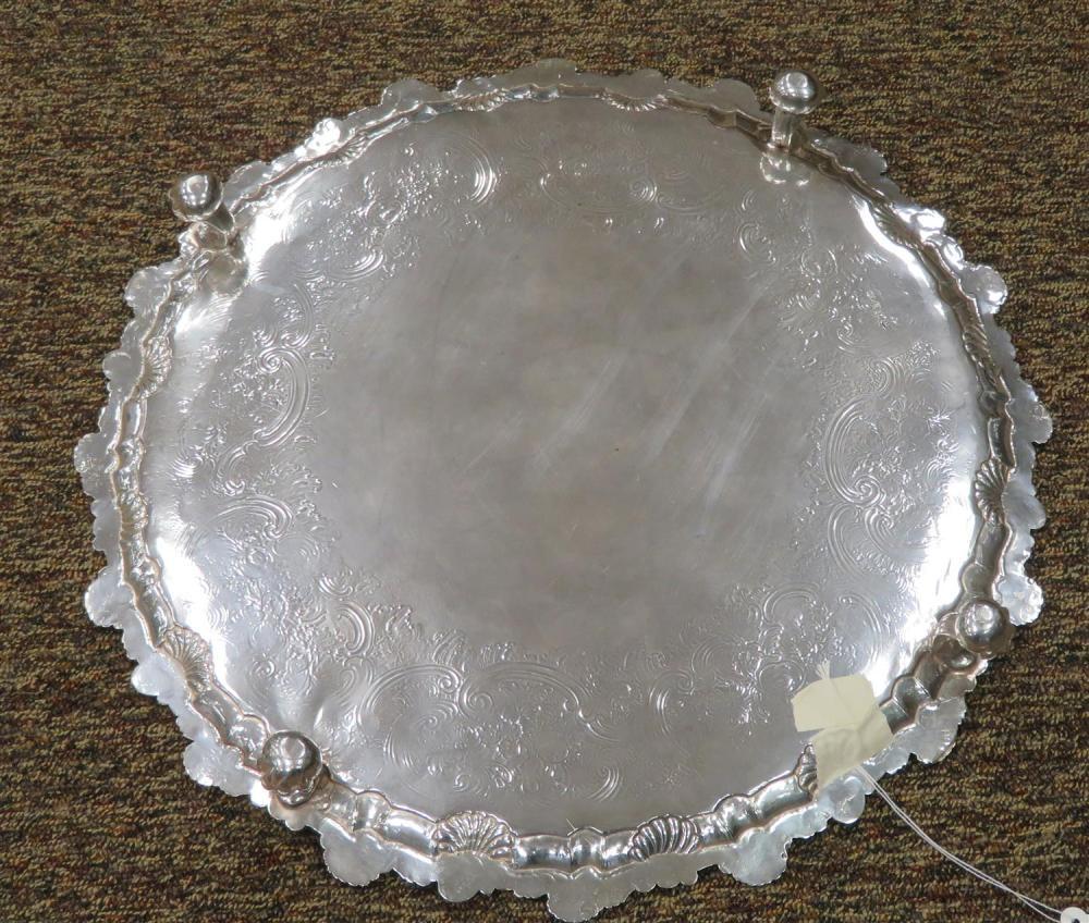 Massive George II silver salver, Dorothy Mills
