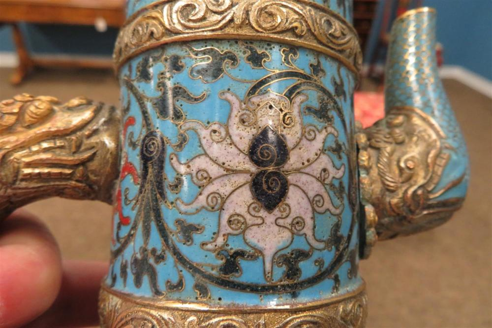 Pair Chinese cloisonne monk's cap ewer with cover (2pcs)