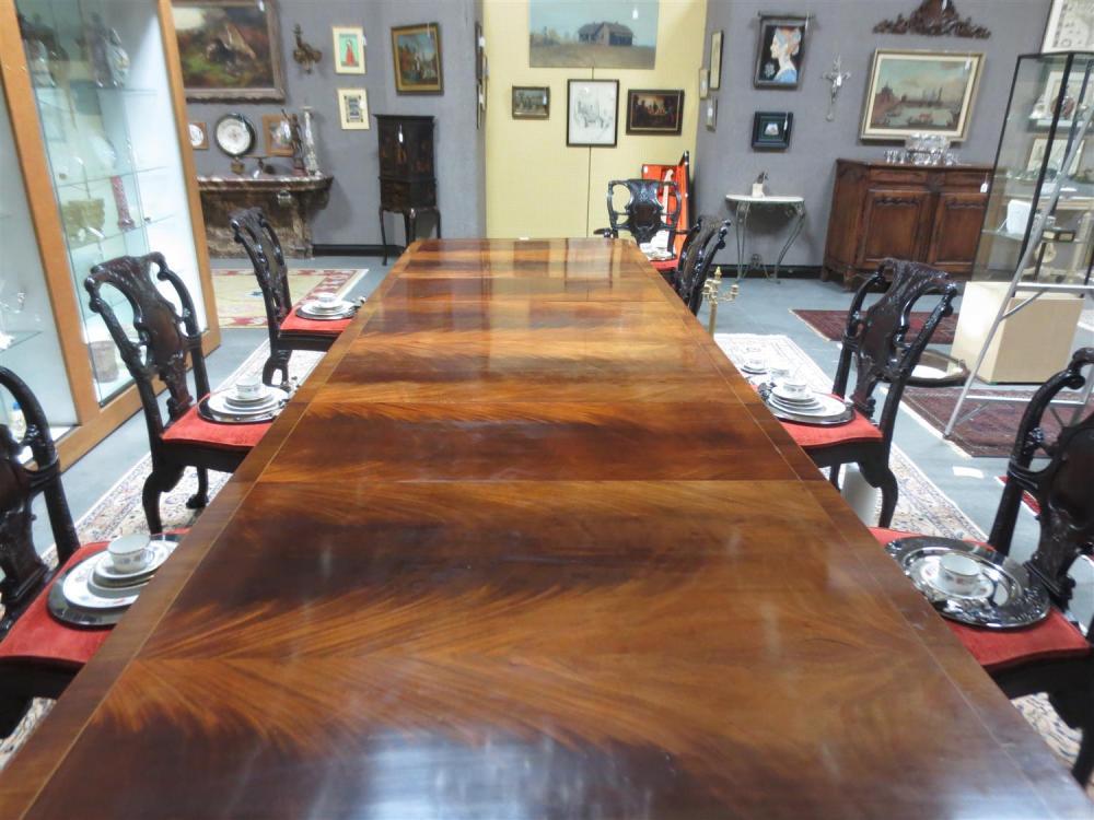 Sheraton style inlaid mahogany triple-pedestal dining table