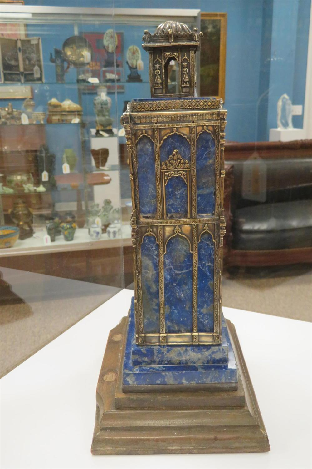 Viennese silver-mounted lapis architectural element