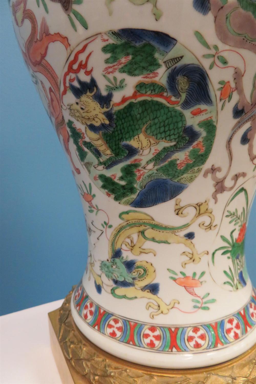Fine pair Chinese export gilt-bronze mounted porcelain vases (2pcs)