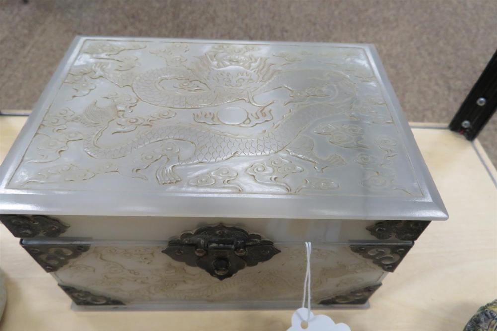 Chinese brass-bound carved white jade box