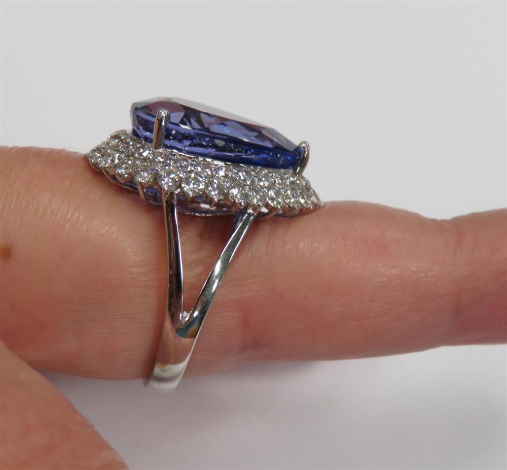 Platinum, tanzanite and diamond ring
