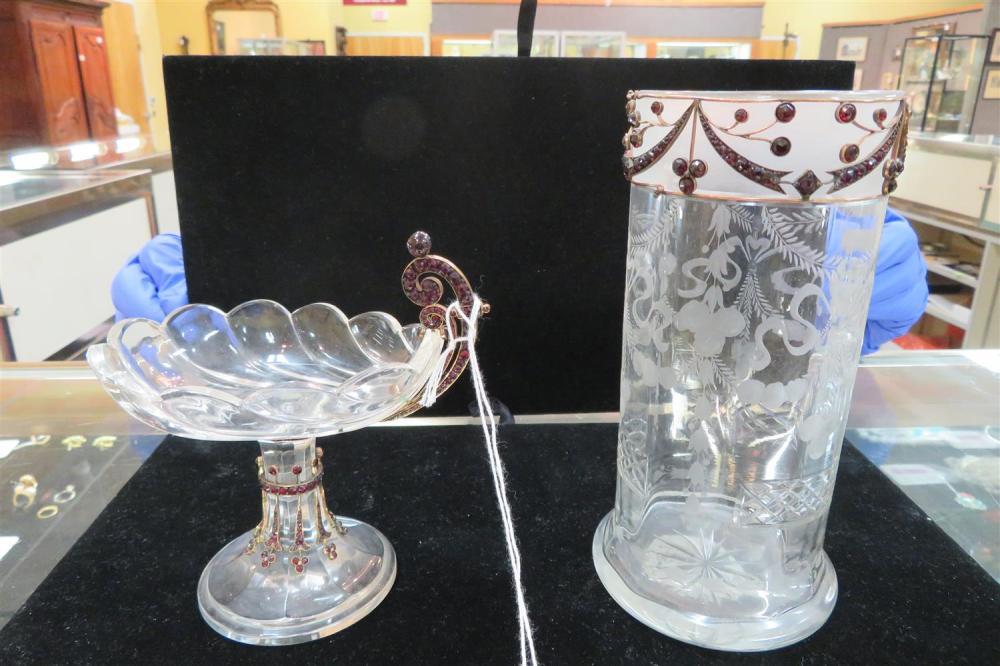 Bohemian garnet-mounted crystal vase and compote (2pcs)
