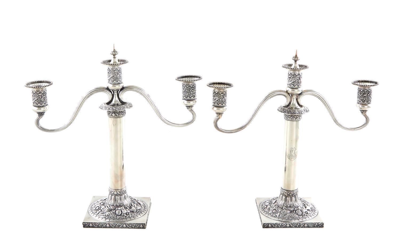 Pair Tiffany & Co silver three-light candelabra (2pcs)