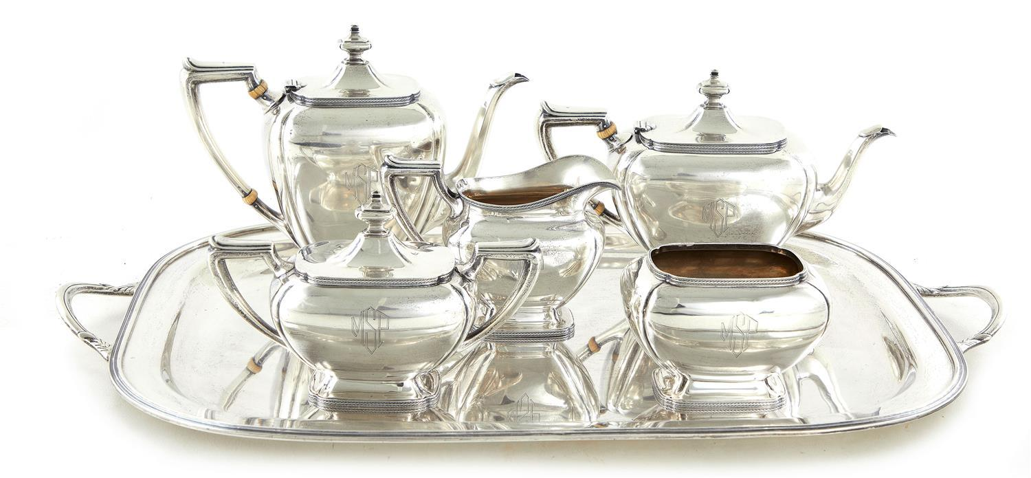 American silver tea and coffee service, Richard Dimes (6pcs)