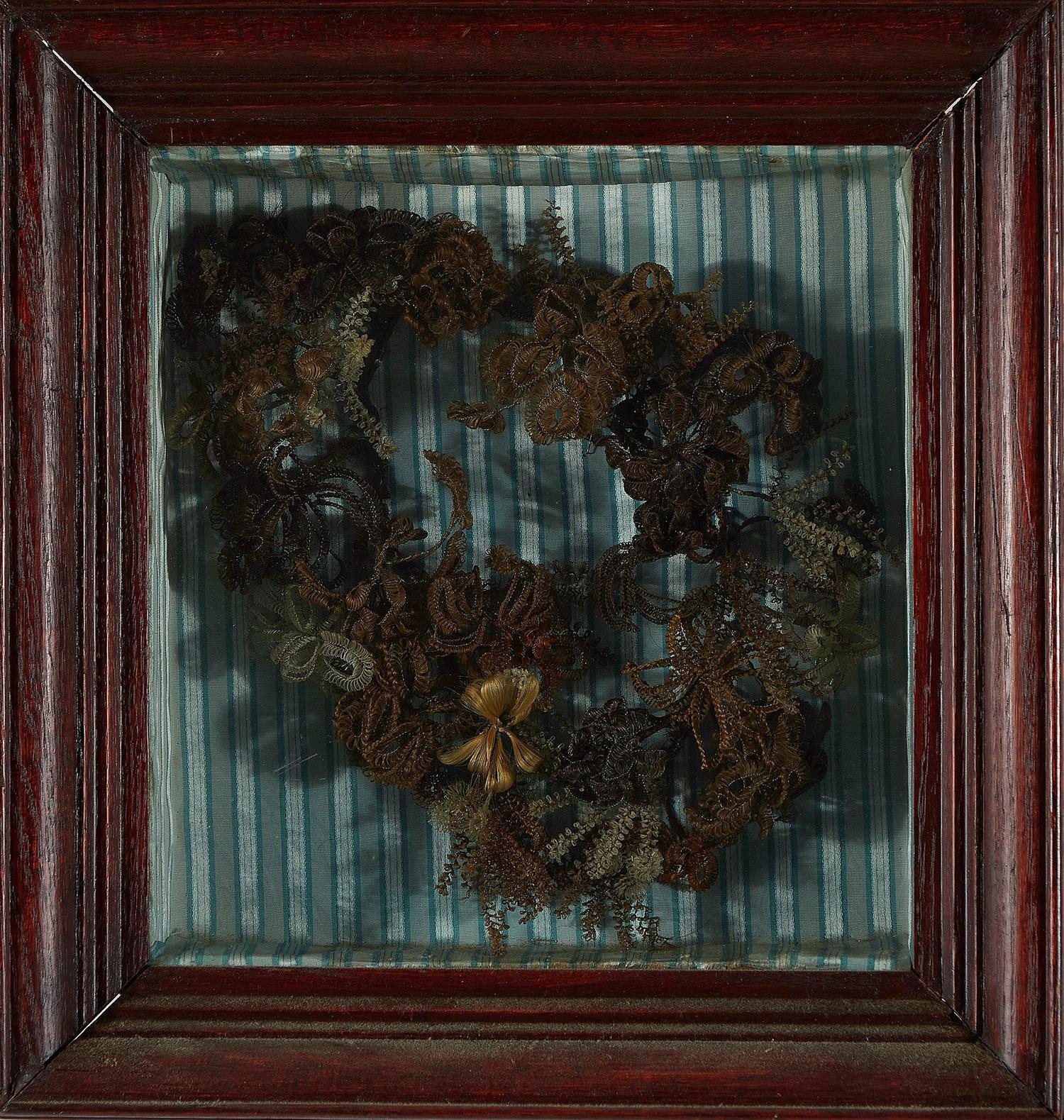 Victorian hair memorial wreath shadowbox