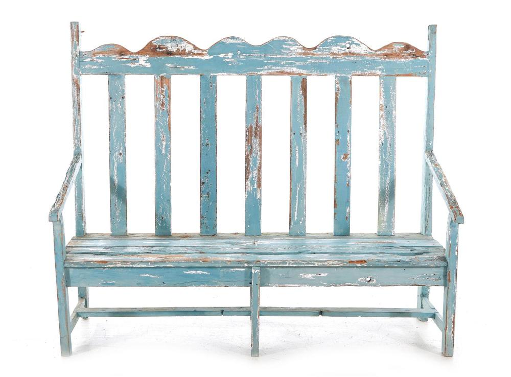 Painted pine bench with slat back