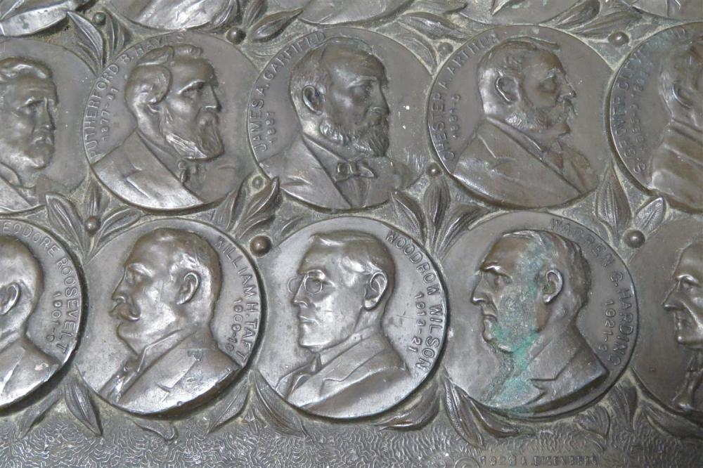 American bronze panel of the American Presidents