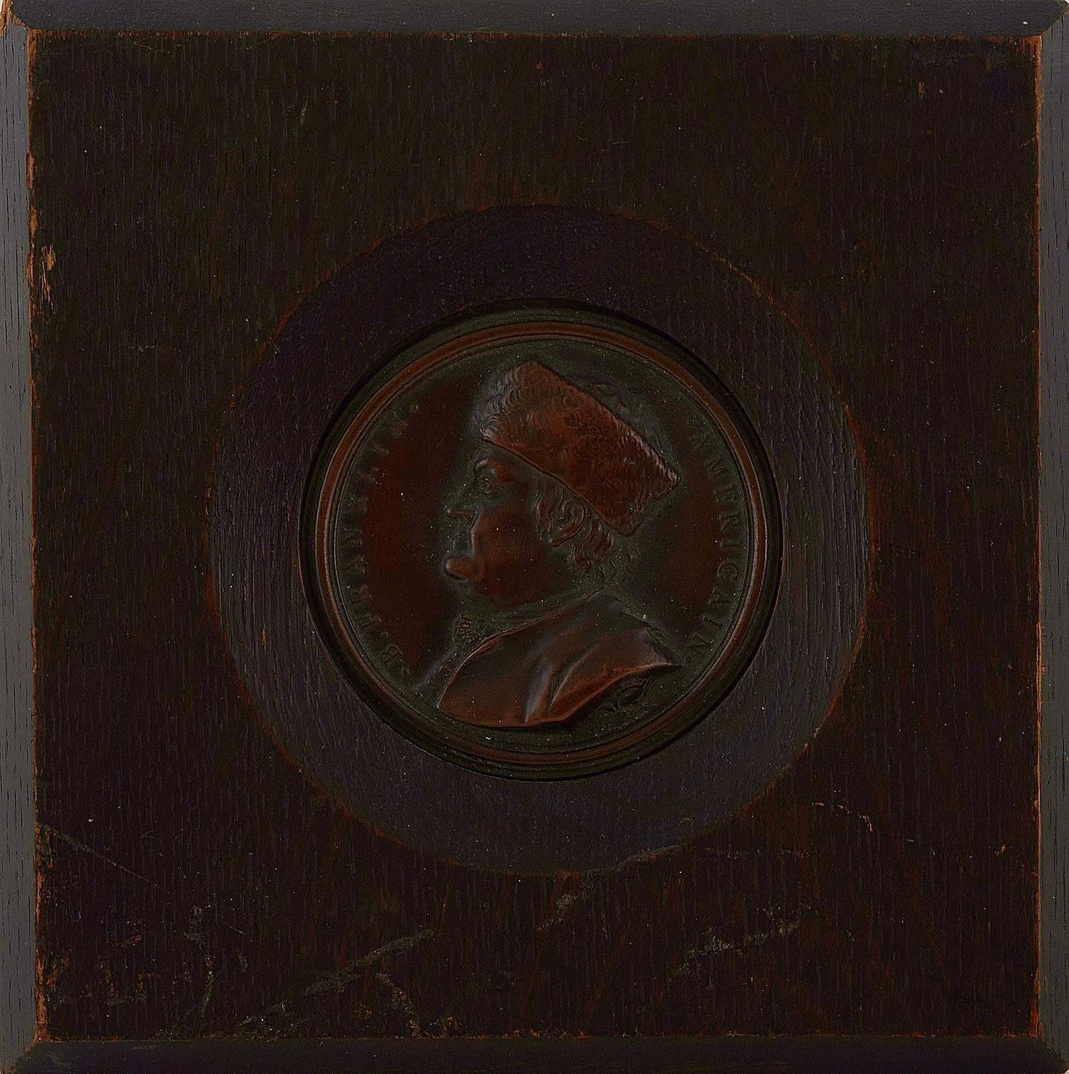 Benjamin Franklin pressed-metal medallion, after Jean Baptiste Nini