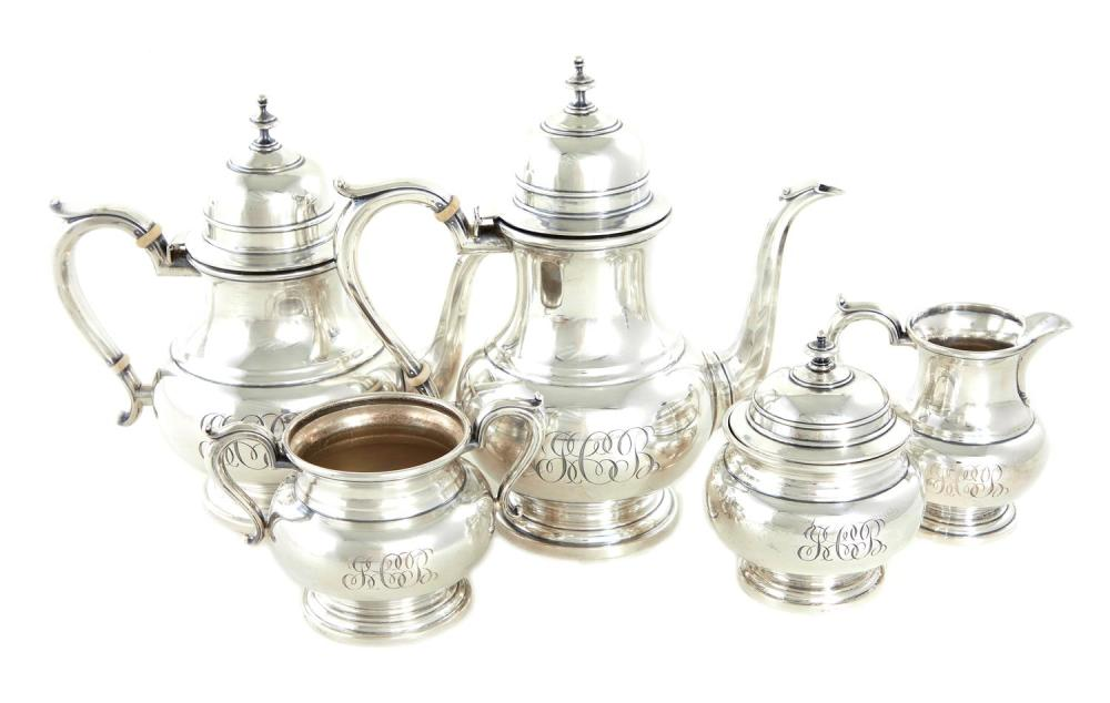 American silver tea and coffee service, Watson (5pcs)
