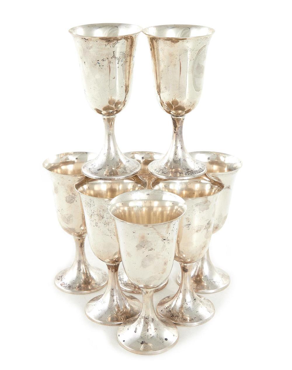 American silver goblets, Preisner (8pcs)