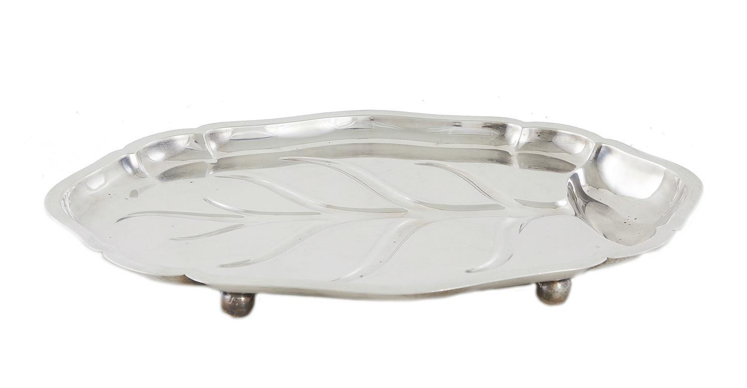 American silver well-and-tree platter, International