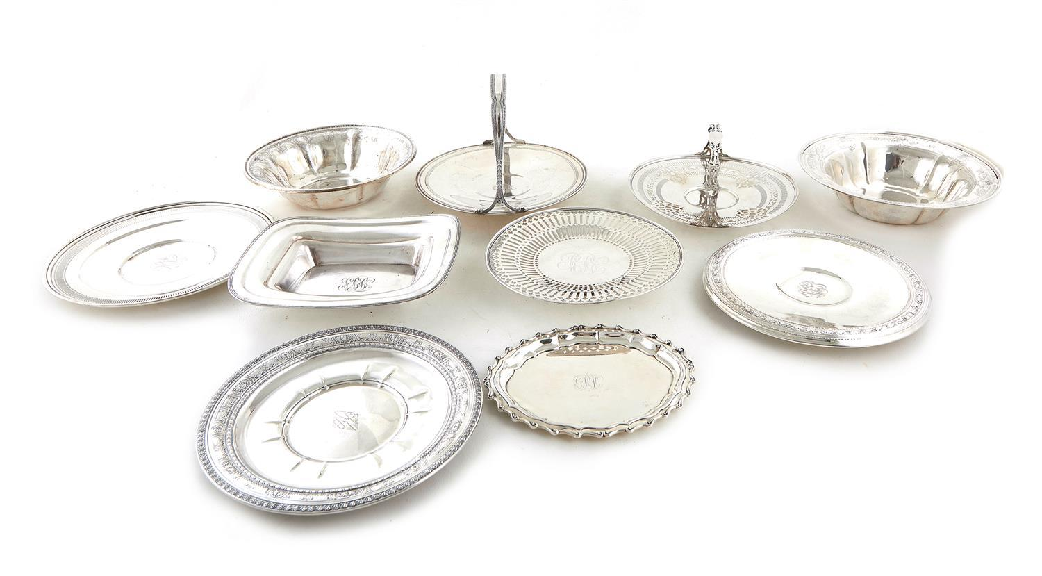 American silver trays, dishes, and baskets (10pcs)