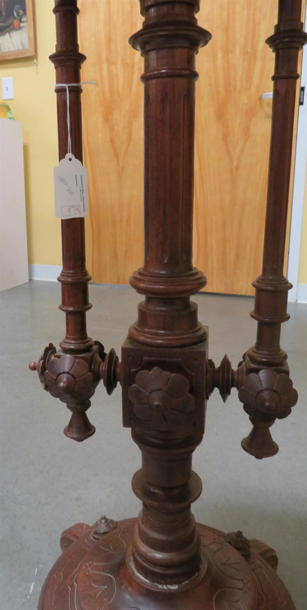Eastlake carved walnut pedestal