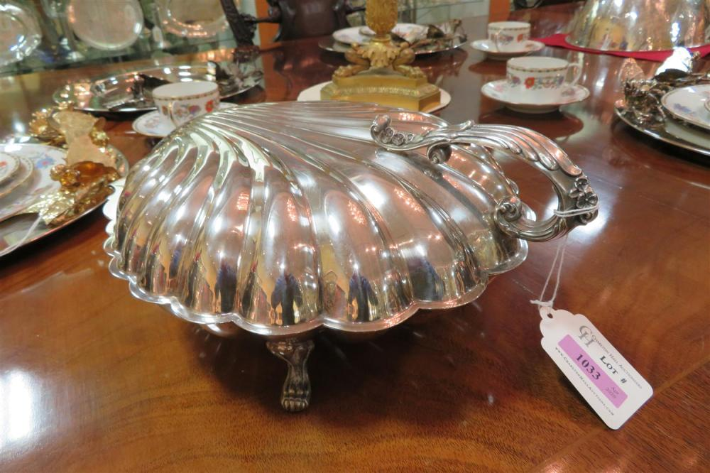 Unusual large silverplate scallop-shell form footed serving dish