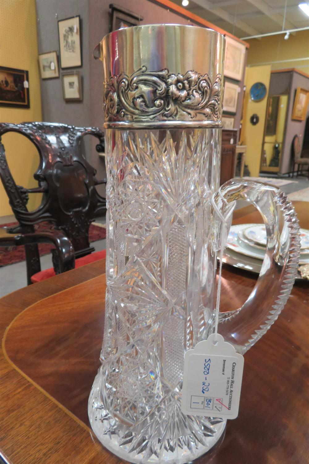 American silver-mounted cut-crystal pitcher, Dominick & Haff