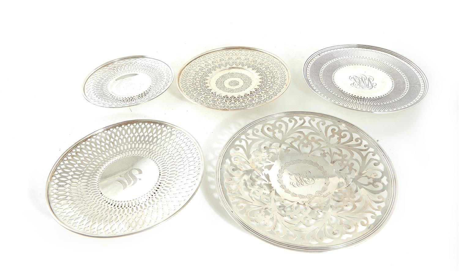 American reticulated silver footed tazzas or cake plates (5pcs)