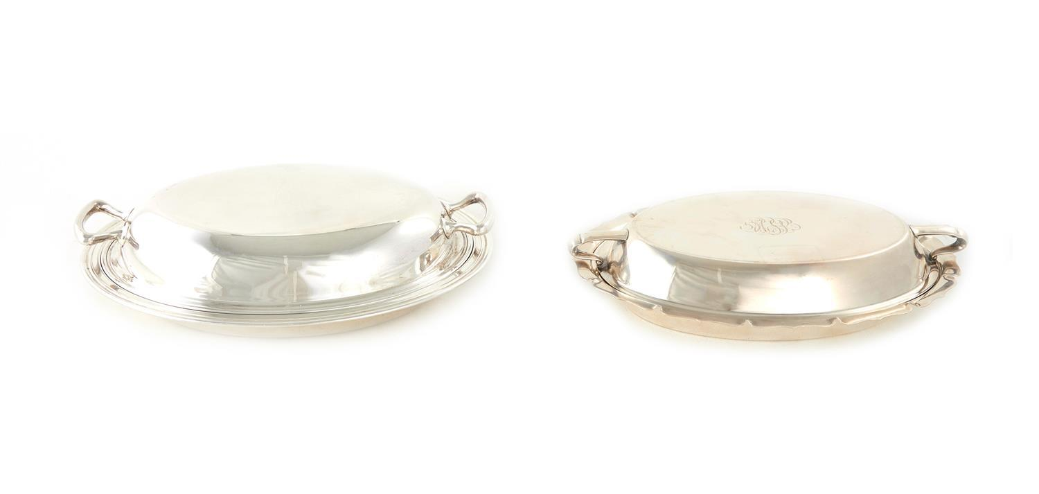American silver covered entree dishes (2pcs)