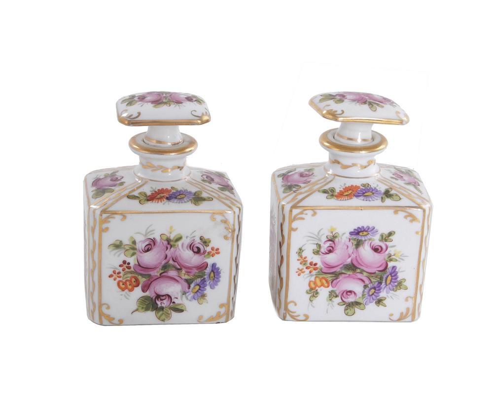 Pair Paris porcelain scent/perfume bottles (2pcs)
