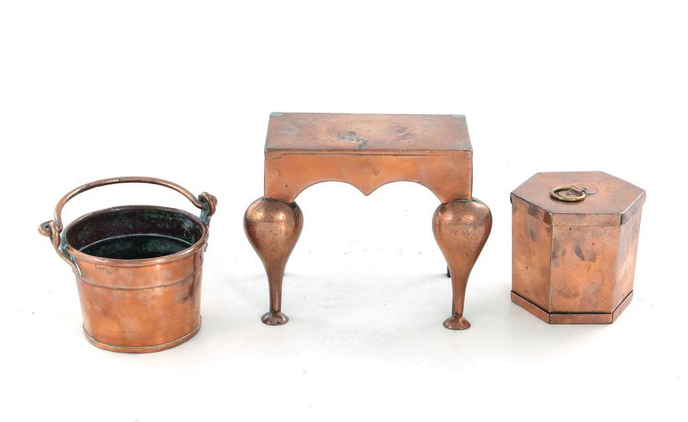 Miniature copper trivet, box and pail