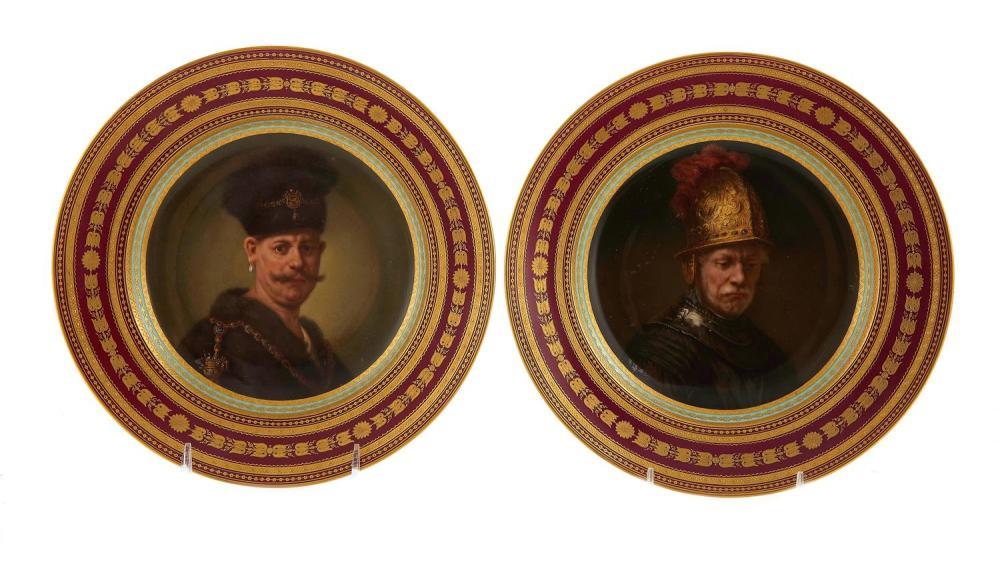Pair Vienna Rembrandt portrait porcelain shallow bowls/plates (2pcs)