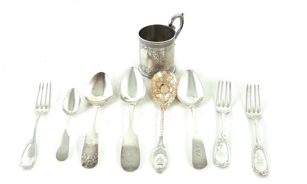 American coin silver cup and flatware (9pcs)