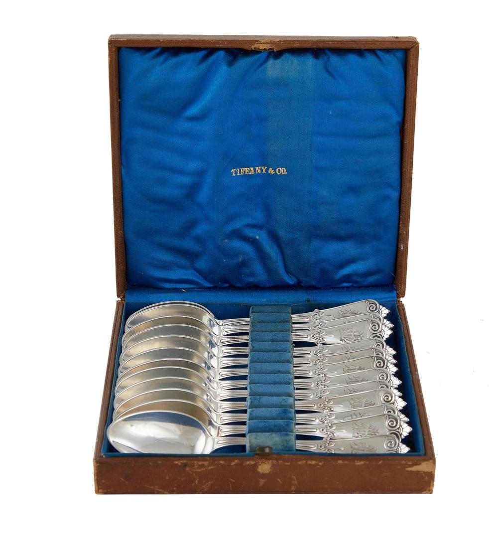 Tiffany & Co Beekman pattern silver teaspoon set in original case (12pcs)